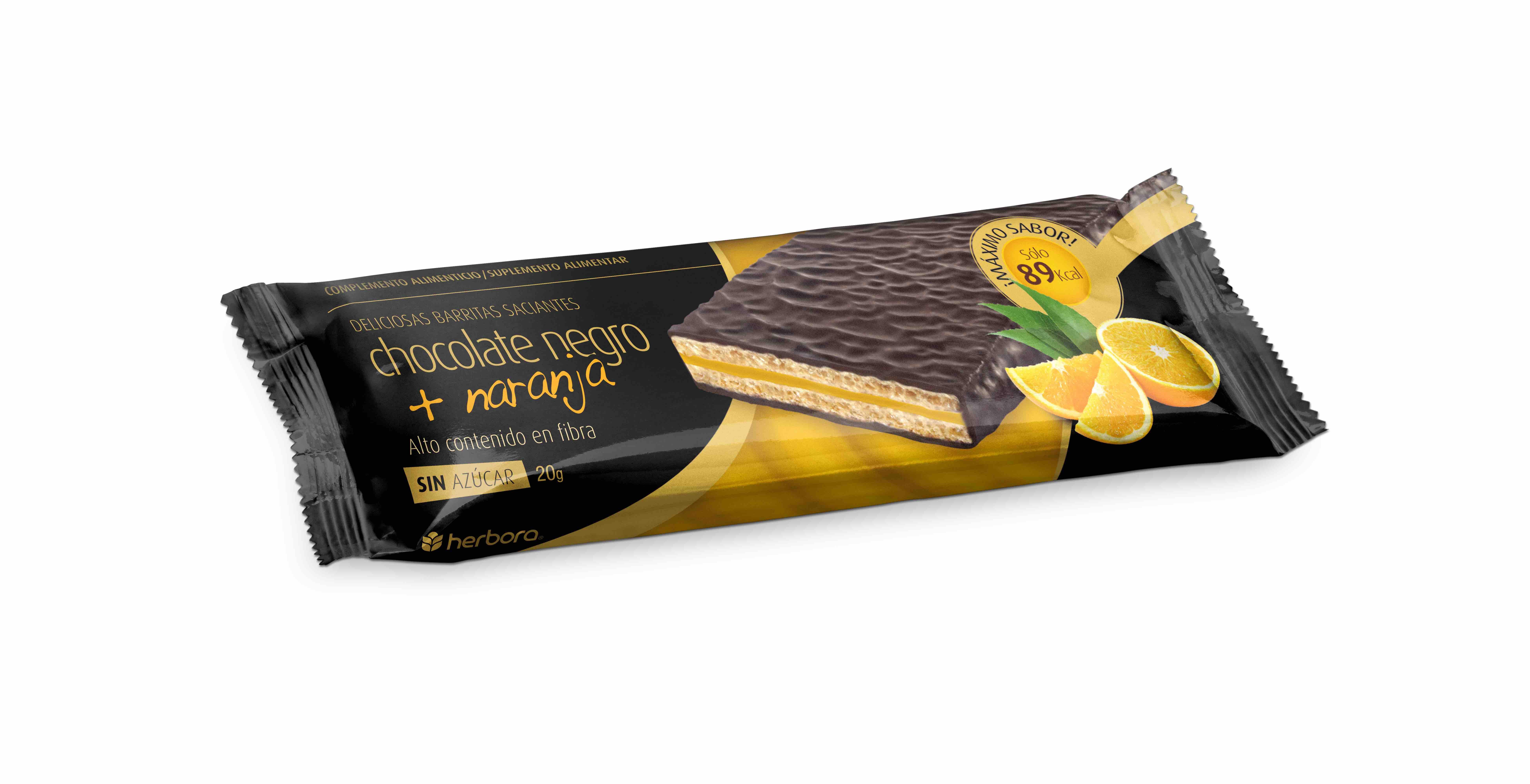 Barrita saciante chocolate negro y naranja